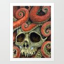 orange tentacles skull Art Print