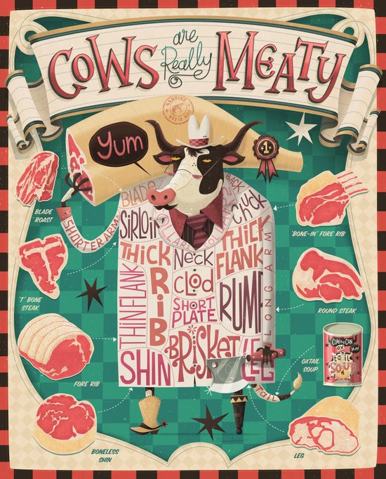 'Cows are REALLY Meaty!' Art Print