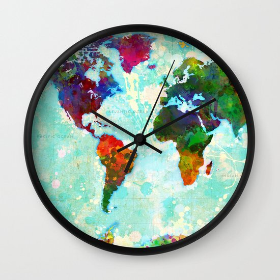 Abstract Map of the World Wall Clock