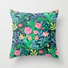 Roses + Green Messy Floral Posie Throw Pillow