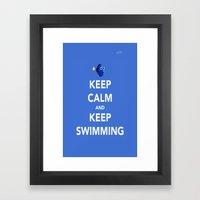 Keep Calm And Keep Swimm… Framed Art Print