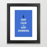 Keep Calm And Keep Swimm… Framed Art Print