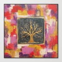 Autumn Window - Bronze Tree Painting Canvas Print
