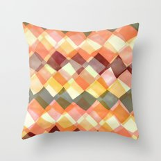 Watercolour and digital diamond pattern Throw Pillow