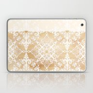 White Doodle Pattern On … Laptop & iPad Skin