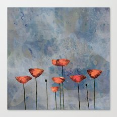 Poppyfield against the blue sky- abstract watercolor artwork Canvas Print