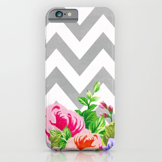 FLORAL GRAY CHEVRON iPhone & iPod Case