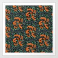 Foxy Pattern Art Print