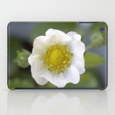 white strawberry flower. floral photo art. iPad Case
