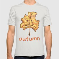 Happy Autumn Mens Fitted Tee Silver SMALL