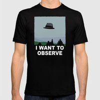I Want to Observe Mens Fitted Tee Black SMALL