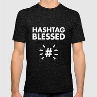 HASHTAG BLESSED  Mens Fitted Tee Tri-Black SMALL
