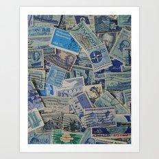 Vintage Postage Stamp Collection - Blue Art Print