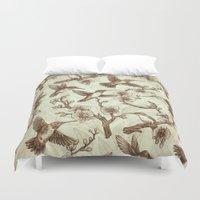 Sepia Hummingbird Pattern Duvet Cover