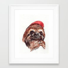 Sloth with Baseball Cap Framed Art Print