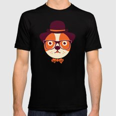 Hipster Dog Mens Fitted Tee Black SMALL