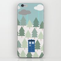 TARDIS lands in the Pacific Northwest Pine Tree Forest - Oregon, Washington, Portland, PDX, Seattle iPhone & iPod Skin