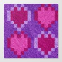 Pink Purple PIxel Hearts Canvas Print