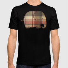 Plaid Elephant  Mens Fitted Tee SMALL Black