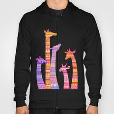 Giraffe Silhouettes in Colorful Tribal Print Hoody