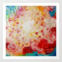 SUMMER DAYS Feminine Pretty Pink Red Peach Abstract Acrylic Painting Whismical Nature Color Splash Art Print