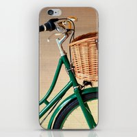 Vintage green bicycle with basket and textured background  iPhone & iPod Skin