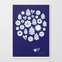 Blue Christmas Decoratio… Canvas Print