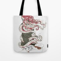 Tote Bag featuring My head is an octopus by Huebucket