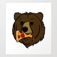 Grizzly Bear With Pizza Art Print