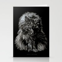 Who's for Dinner? Big Black & White Main Coon Cat Stationery Cards
