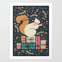 Merry Little Squirrel  Art Print