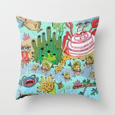 Mini Mermaids and Friends Throw Pillow
