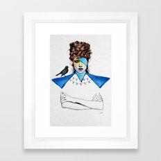 Blue Girl & Black Bird Framed Art Print