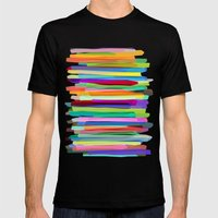 Colorful Stripes 1 Mens Fitted Tee Black SMALL