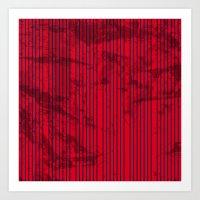 Grunge Blue stripes on bold red background illustration. Art Print