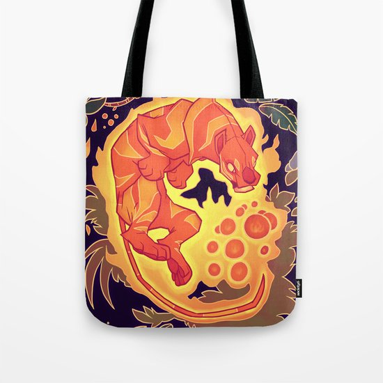Fire Tiger with Berries Tote Bag