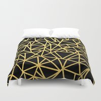 Abstract Outline Thick Gold Duvet Cover