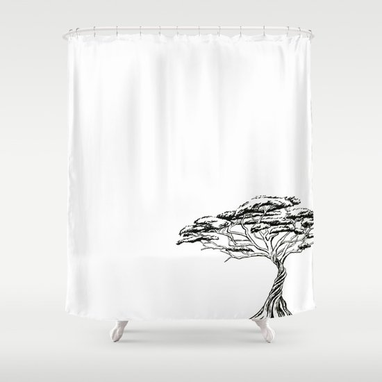 thorn zen bonsai african tree black and white shower curtain