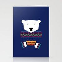polar bear Stationery Cards featuring Polar Bear by Marco Recuero