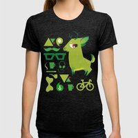 Hipsdeer (green) Womens Fitted Tee Tri-Black SMALL