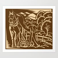 Farmer Farming Plowing W… Art Print