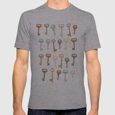 keys pattern Mens Fitted Tee Athletic Grey SMALL