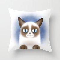 Nope (Grumpy Cat) Throw Pillow