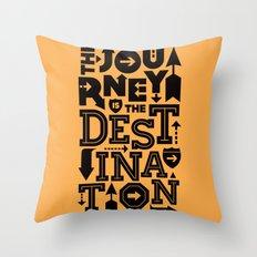 Orange Journey Quote Throw Pillow