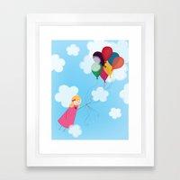 Girl With Balloons Framed Art Print