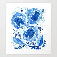 Inside Blue Roses Art Print