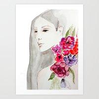 Face&flowers Art Print