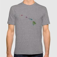 Typographic Hawaii In Sp… Mens Fitted Tee Athletic Grey SMALL