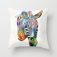 Colorful Zebra Face By S… Throw Pillow
