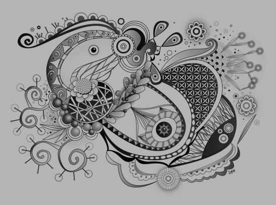 Ornate spring tangle, charcoal grey Canvas Print